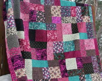 King size patchwork quilt / Queen size quilt / Modern Pink and Teal Quilt