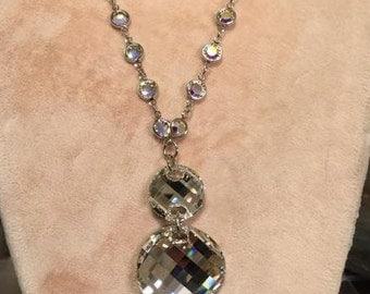 Scallop Three Drop on Sterling Swarovski Crystal Link