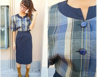 1960 Vintage Blouse/ School Principal Blouse/ Medium Blouse/ Plaid Blouse/ Preppy Blouse/ Japanese Vintage/ Padded Shoulder/ Blue Blouse/ M