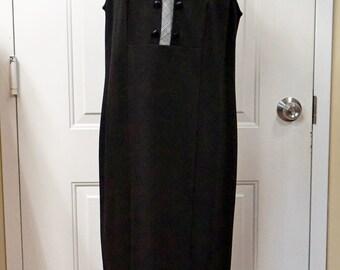 SLEEVELESS DRESS WEAR to Work Dress Black Jumper Dress Mid-calf Dress European designer size xl Dress Career Dress Office Dress