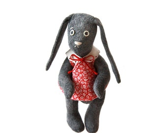 Stuffed Felt  Bunny in Floral Dress / Vintage Style Gray Felt Bunny