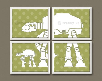 8x10 (4) Star Wars Nursery Prints - Nursery Art, Children's Art, Star Wars Art, Star Wars  - Father/Mother and Child AT-AT Walkers