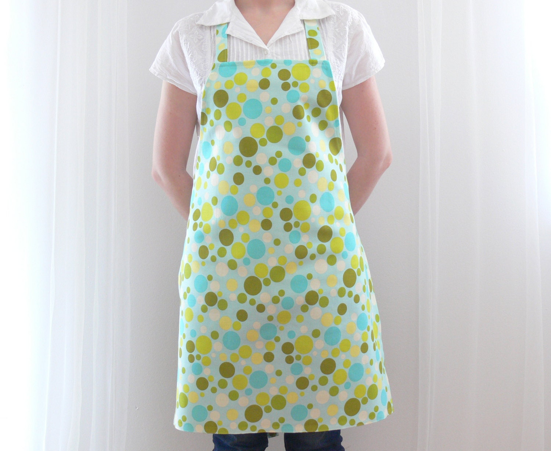 womens aprons kitchen apron polka dot green blue apron. Black Bedroom Furniture Sets. Home Design Ideas