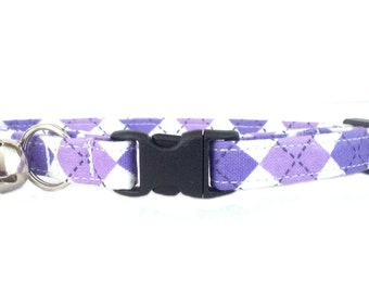 Preppy Purple Argyle Breakaway/Safety Cat or Kitten Collar
