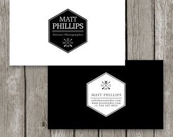 Modern Business Card - Black & white Business Card Template for Photographers - Masculine Business Card -Wedding Photography Template - BC14