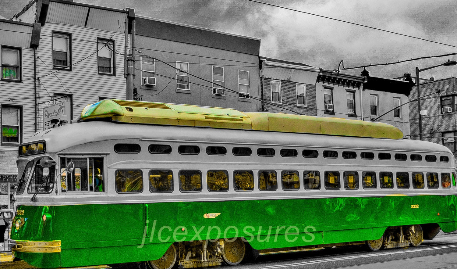 Philly Trolley Car 10x13 Matted On Black Mat
