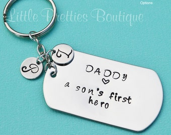 A Son's First Hero Key Chain, Daddy A Son's First Hero, Father's Day gift, Dad Key Chain, Hand Stamped, Personalized, Dad hero