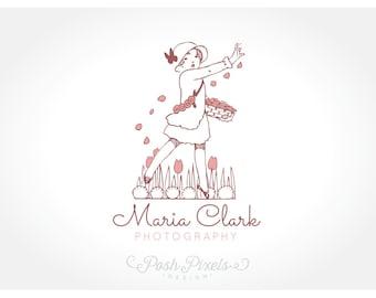 Logo Design (Premade) Vintage logo, Hand drawn logo, Child Logo, Photography Logo, Boutique logo, Whimsical logo, Floral logo, Cute logo