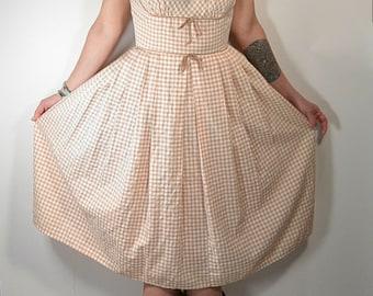 50s Brown Gingham Dress// Pleated Skirt// Gingham Summer Dress