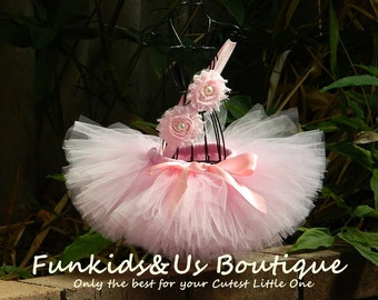Pink Baby Tutu Set- Newborn Tutu and Headband- Pink Ballerina Birthday Tutu- photoshot-smash cake
