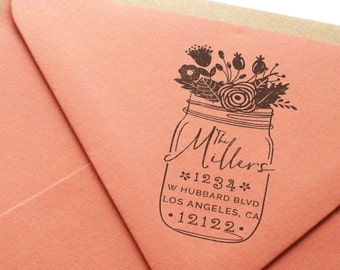 Custom Return Address Rubber Stamp - Rustica No. 6