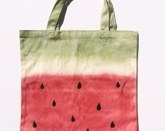 Hand dyed watermelon market tote (small)