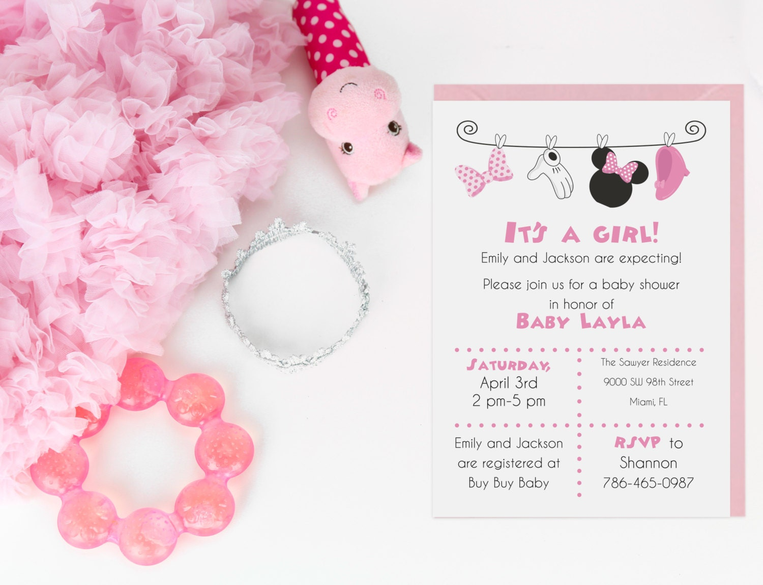 Baby Shower Minnie Mouse ~ Minnie mouse baby shower invitation digital file by