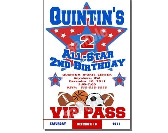 All Star Invitation Birthday Party Blue and Red - DIGITAL or PRINTED