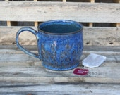 Reserved for Loran - Hand Carved Blue Stoneware Mug
