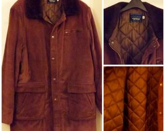 Corduroy Mens Coat Faux Fur Collar Size 46 by Cooper Sportswear