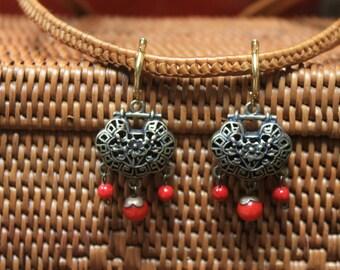 Valentine Bronze Flower Basket Earrings