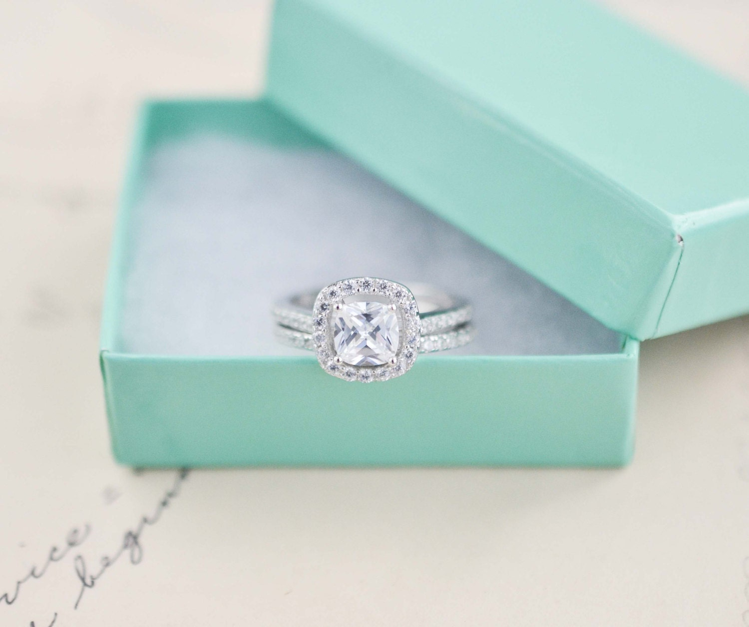 Wedding Ring Set Cushion Cut Ring Sterling Silver Ring