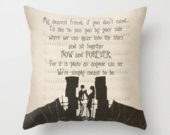 "The Nightmare Before Christmas Throw Pillow Cover Jack and Sally ""My dearest friend"" Quote Pillow Jack and Sally Pillow Home Decor Gift"