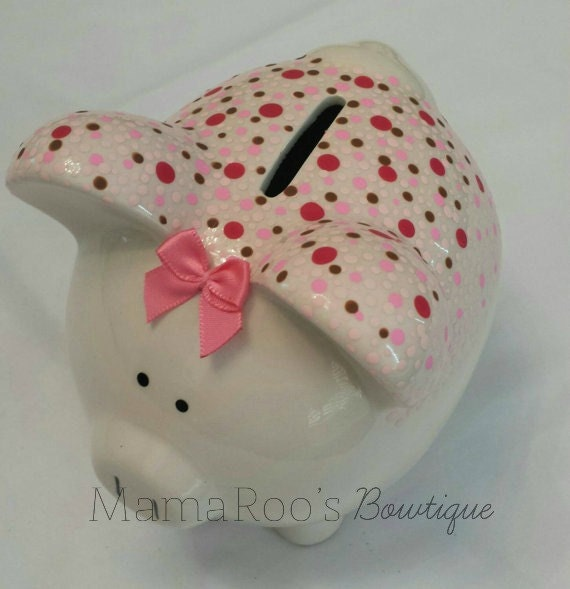 Ceramic hand painted pink brown piggy bank by for How to paint a ceramic piggy bank