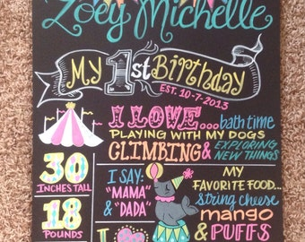 Girly carnival first birthday favorite things board