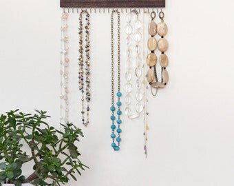 set of three necklace display racks (brown, gray, or natural)