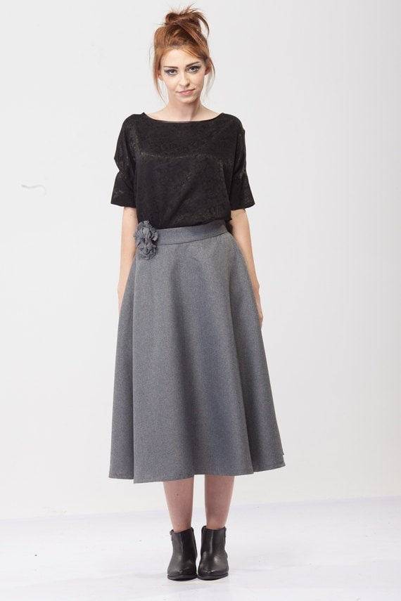 High waist skirt/A-line skirt/ Winter skirt/ Wool Skirt/ Midi