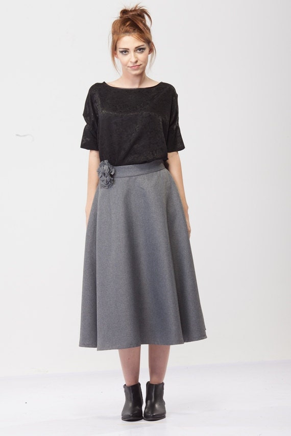 Items similar to High waist skirt/A-line skirt/ Winter skirt/ Wool ...