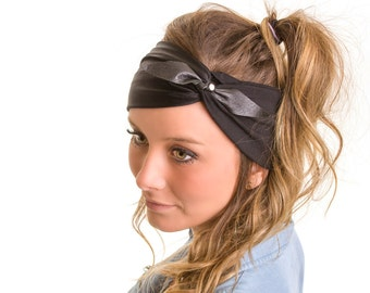 Headbands for women, black hair, leather buckle