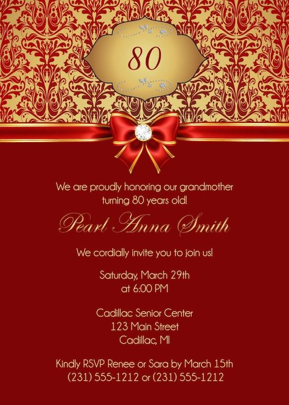 80th Birthday Invitation Adult Black And Gold Damask