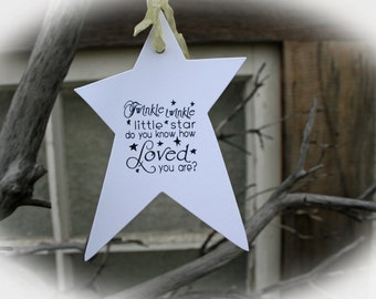 Baby Shower Decor- Set of 25 Baby Shower Wishing Tree Tags Rustic Baby Shower- Twinkle Twinkle do you know how loved you are-White Cardstock