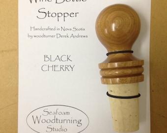 Wine bottle stopper; Black Cherry wood; Stock#1