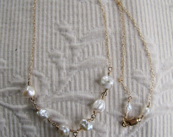 Green amethyst and freshwater pearl necklace