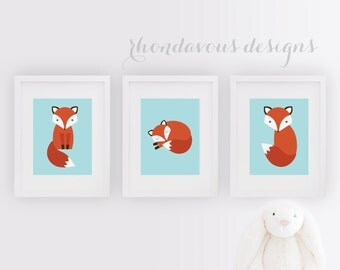Baby Boy Nursery Art. Boy Nursery Decor. Fox Print. Fox Nursery Art. Boy Bedroom Art. Boy Bedroom Decor. Fox Bedroom Art. Fox Decor (NS-705)