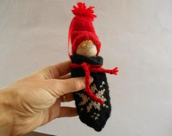 Vintage Swedish Christmas ornaments Knitted gnome set Handmade Yarn gnomes Holiday ornaments