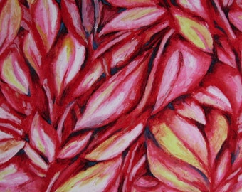 Red Leaves, Abstract Oil Pastel Drawing on 14x17 Bristol Board, Abstract Leaves, Red Drawing, Wall Art, Nature Art, Leaves Drawing, Red