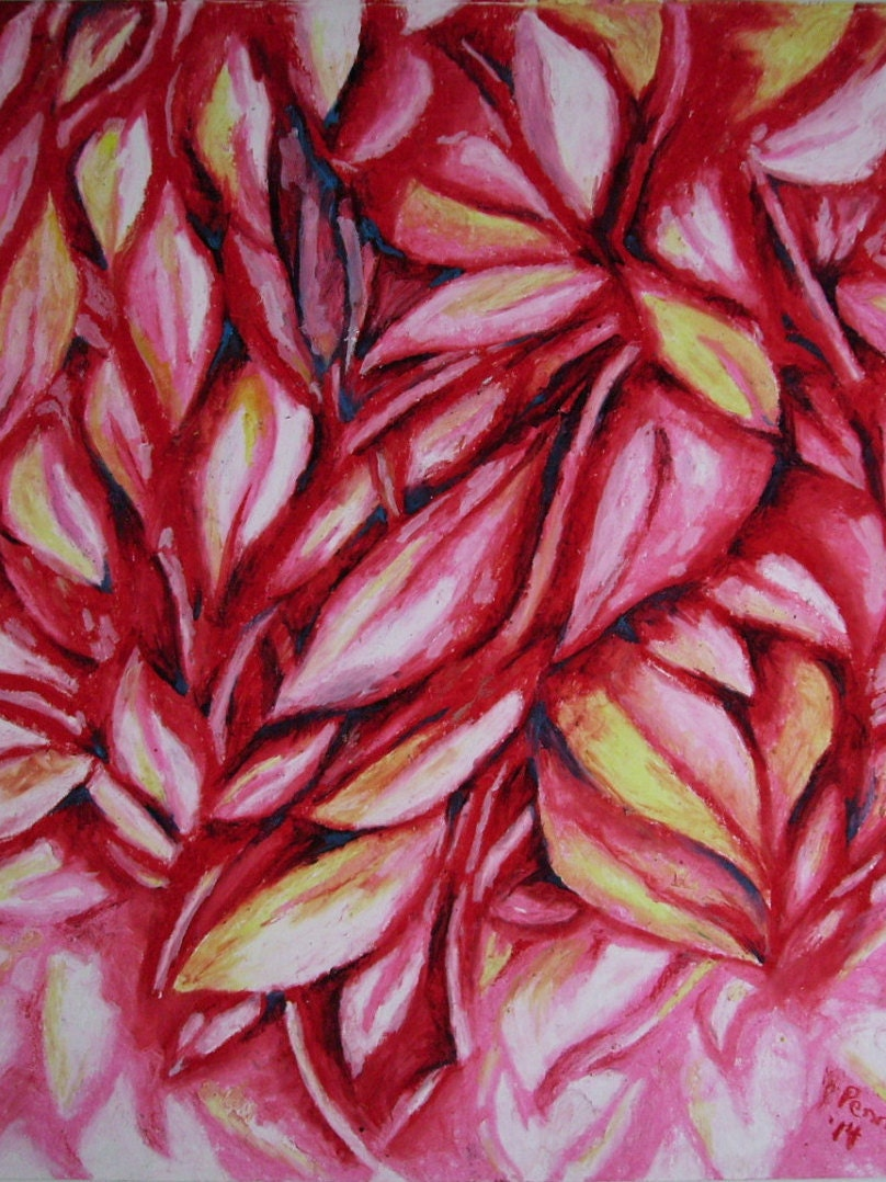 Red Leaves Abstract Oil Pastel Drawing on 14x17 Bristol