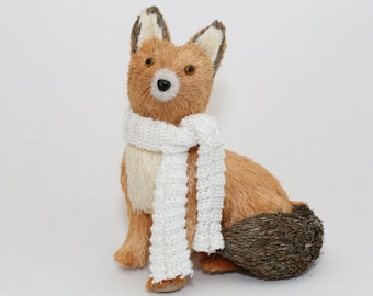 Natural Handmad Christmas Sitting Fox - White Scarf