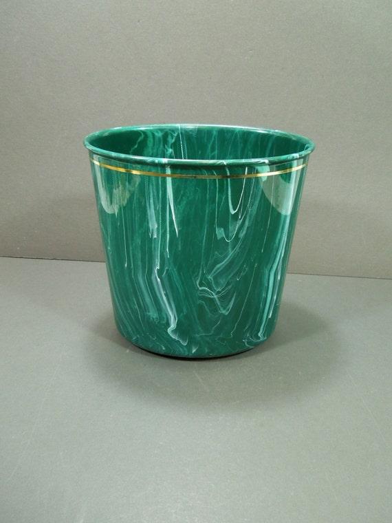Waste Paper Basket Retro Marbled Teal Plastic By Guttersnipes