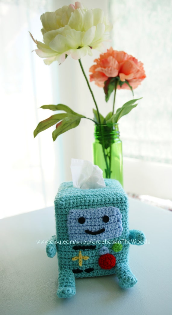 Amigurumi Beemo : Adventure Time BeeMo BMO Inspired Crochet Teal Kleenex Tissue
