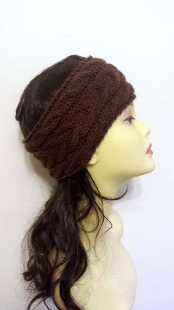 Brown Hand Knitted Headband, Hair Accessories brown knitted headband, cable knit brown hairband, women knitted headband, winter accessory