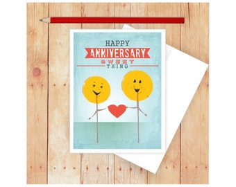 Funny Anniversary Card, Anniversary Card for Him, Anniversary Card for Her, Sweet Thing, Cute Anniversary Card, Candy, Suckers