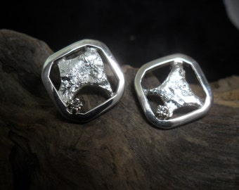 Sterling silver reticulated with diamond earrings