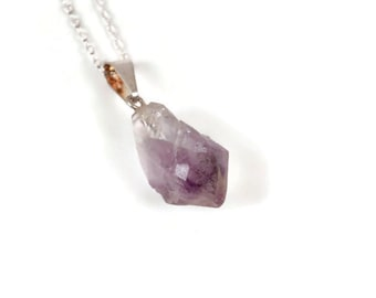 Natural Raw Amethyst Pendant Necklace
