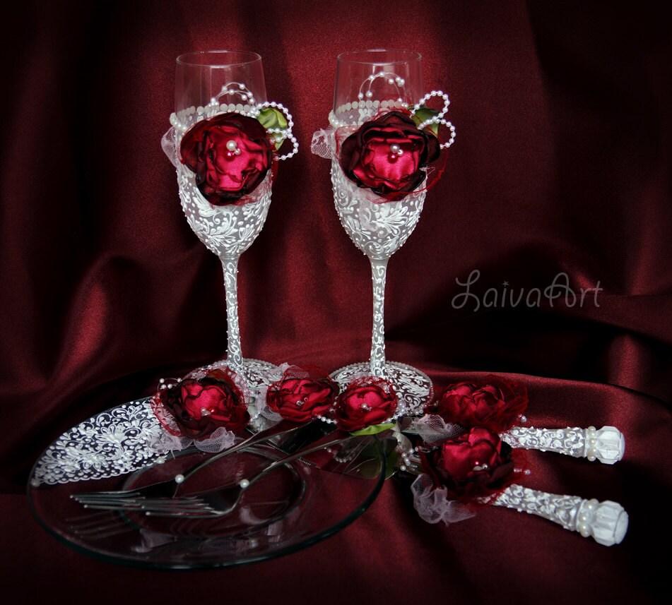 Wedding Champagne Flutes Cake Server Set Knife