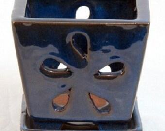 "Square Ceramic Orchid Pot/Saucer plus Felt Feet - 4.25"" x 4"" - Navy Blue - 14650"