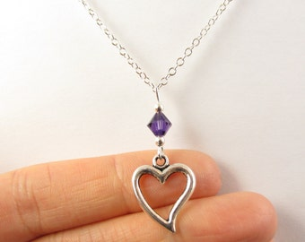 Heart Necklace- choose a birthstone, Heart Jewelry, Heart Gift, Heart Charm, Gift for Wife, Love Necklace, Love Jewelry, Gift for Girlfriend