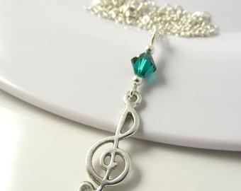 Treble Clef Necklace- choose a color, Treble Clef Jewelry, Music Necklace, Music Jewelry, Music Gift, Treble Clef Gift, Treble Clef Charm