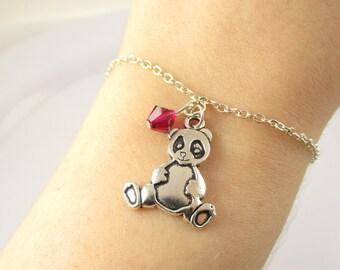 Panda Bracelet- choose a birthstone color, Panda Jewelry, Panda Gift, Panda Bear Bracelet, Panda Bear Jewelry, Animal Bracelet, Panda Charm