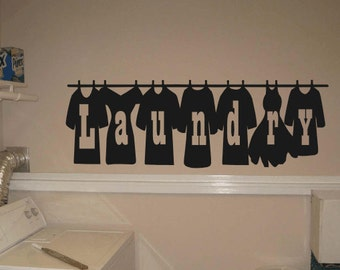 Clothes On Line Laundry Room Vinyl Decal, Laundry Room Vinyl Wall Sticker, Laundry Room Decor